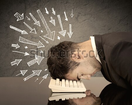 Pijlen wijzend triest kantoormedewerker uitgeput Stockfoto © ra2studio