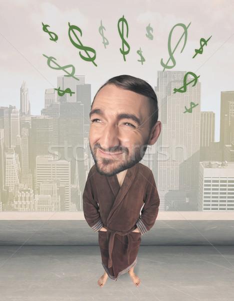 Big head person with idea dollar marks Stock photo © ra2studio