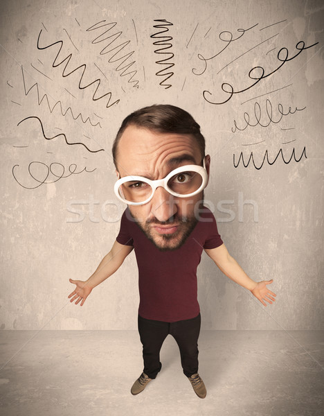 Nagy fej személy fürtös vonalak vicces Stock fotó © ra2studio