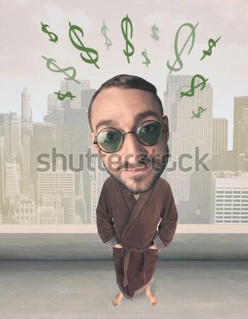 Nagy fej személy ötlet dollár vicces Stock fotó © ra2studio