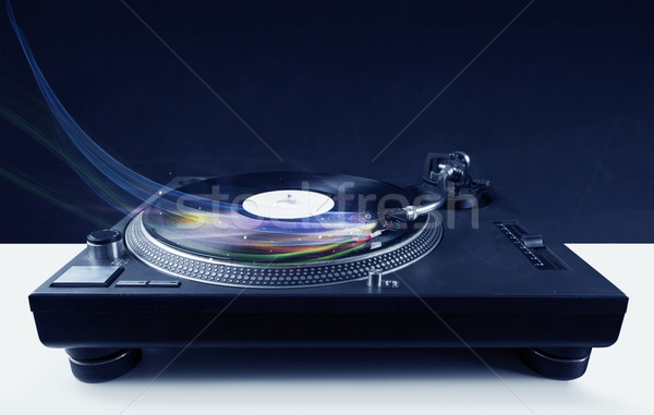 Music player playing vinyl music with colourful abstract lines Stock photo © ra2studio