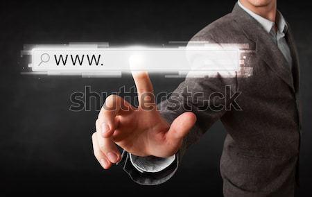 Jóvenes empresario tocar web navegador dirección Foto stock © ra2studio
