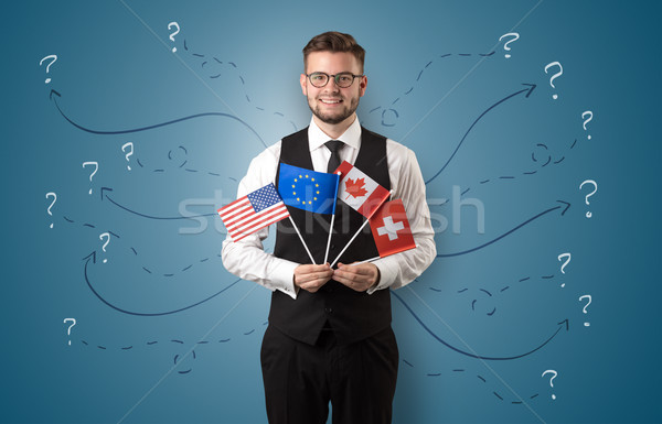 Stock photo: Man standing with flag and destination concept