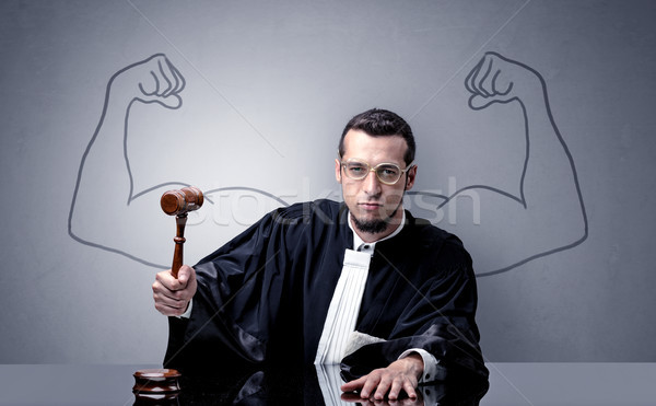 Brawny judge making decision Stock photo © ra2studio