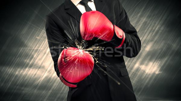 Boxing gloves clashing Stock photo © ra2studio
