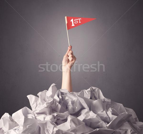 Female hand holding winner sign Stock photo © ra2studio