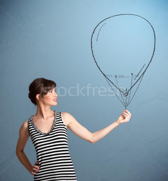 Stok fotoğraf: Güzel · bir · kadın · balon · çizim · güzel · genç · kadın
