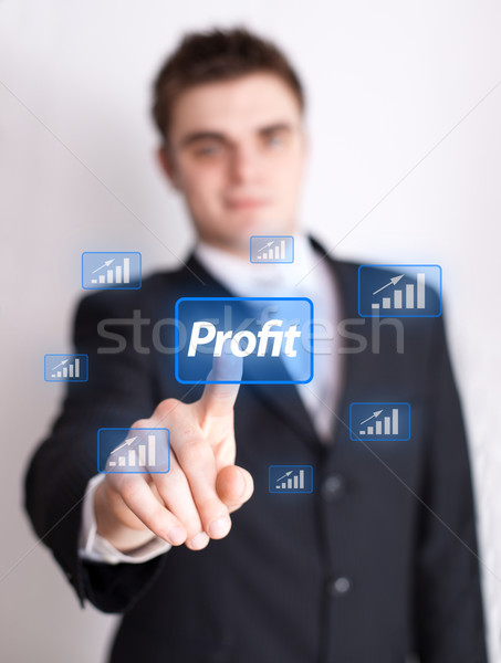 hand pressing profit button Stock photo © ra2studio