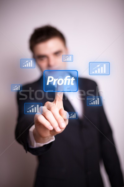 pressing profit icon with one hand  Stock photo © ra2studio