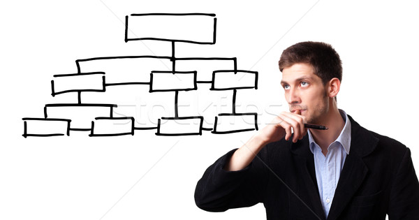 man analysing flowchart schema on the whiteboard Stock photo © ra2studio