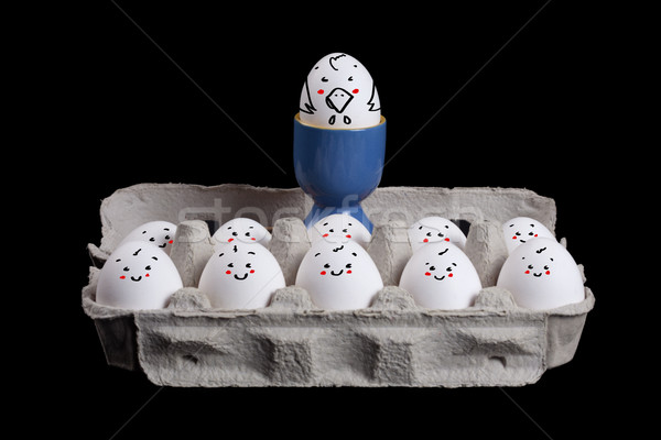 eggs with smiley faces in eggshell with a boss over their head Stock photo © ra2studio