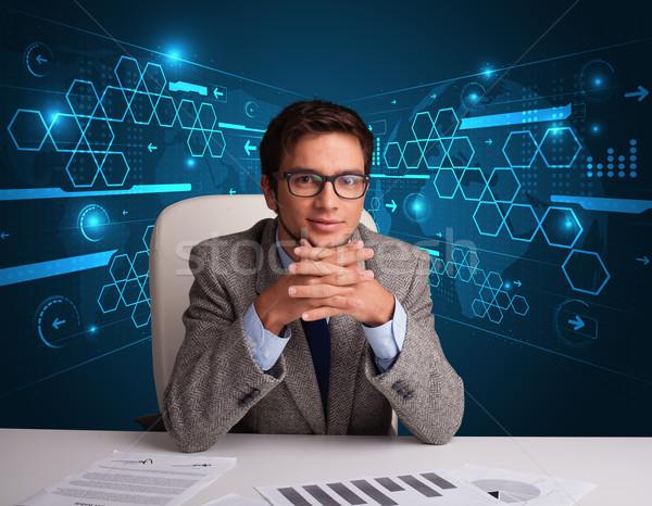Foto stock: Empresário · papelada · futurista · jovem · escritório · papel