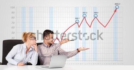 Сток-фото: молодые · бизнесмен · деловая · женщина · Фондовый · рынок · графа
