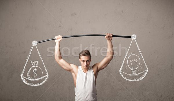 Muscular hombre equilibrado fuerte gimnasio ejercicio Foto stock © ra2studio