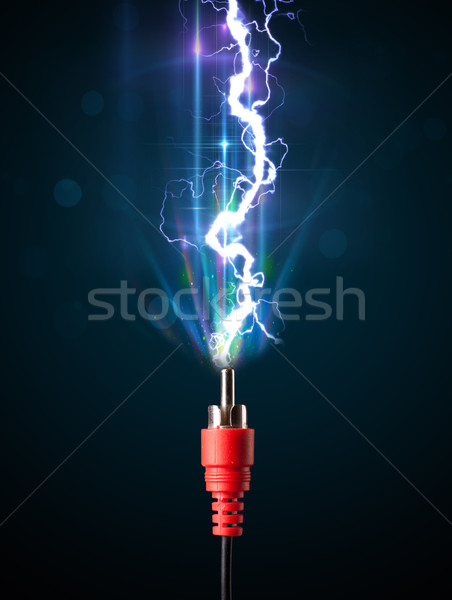 Electric cable with glowing electricity lightning Stock photo © ra2studio