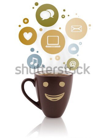Coffee cup with social and media icons in colorful bubbles Stock photo © ra2studio