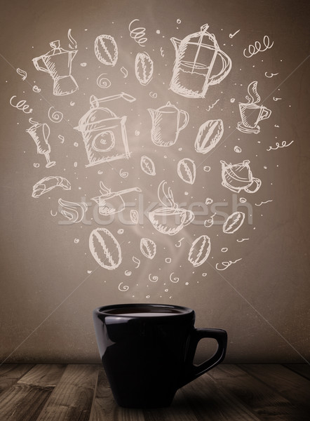 Coffee mug with hand drawn kitchen accessories Stock photo © ra2studio