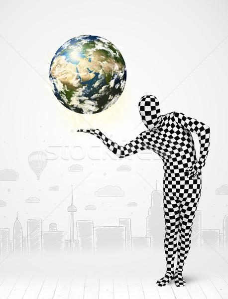 Homem terno planeta terra engraçado Foto stock © ra2studio