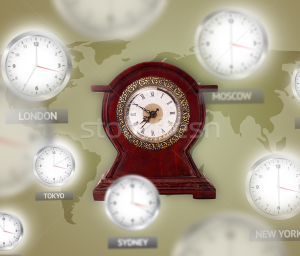 Stock photo: Clocks and time zones over the world concept