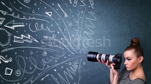 Fotograf strzelanie zdjęcia energiczny linie Zdjęcia stock © ra2studio