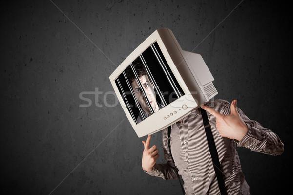 Człowiek biznesu monitor głowie cyfrowe ekranu działalności Zdjęcia stock © ra2studio