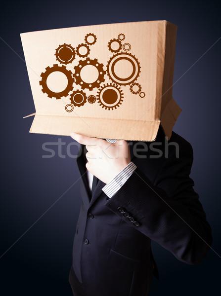 üzletember gesztikulál kartondoboz fej áll arc Stock fotó © ra2studio
