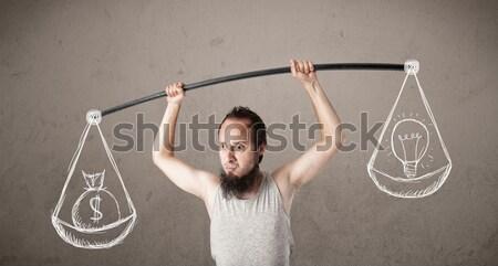 Sovány fickó kiegyensúlyozott vicces pénz férfi Stock fotó © ra2studio