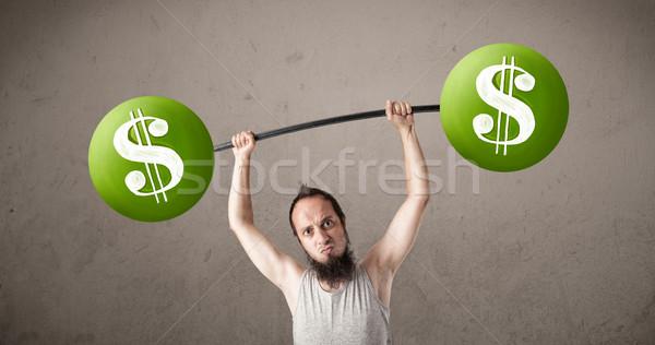 тощий парень зеленый знак доллара весов Сток-фото © ra2studio