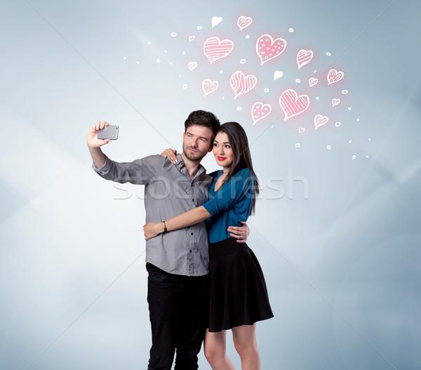 пару любви красный сердце Сток-фото © ra2studio
