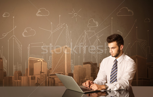 Empresário edifícios sessão preto tabela sorrir Foto stock © ra2studio