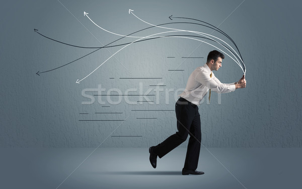 Running businessman with device and hand drawn lines Stock photo © ra2studio