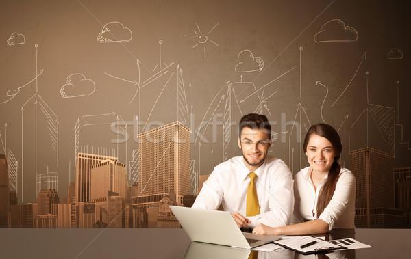 üzlet pár épületek ül fekete asztal Stock fotó © ra2studio