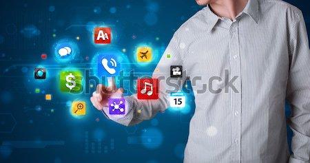 Сток-фото: красивый · бизнесмен · красочный · мобильных · приложение