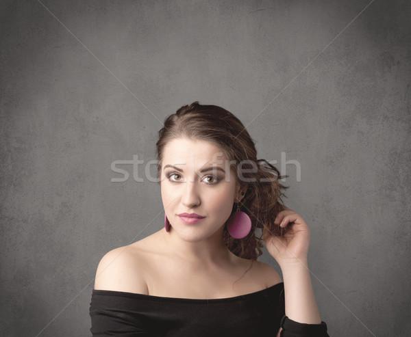 Lány vicces arckifejezés csinos fiatal tinilány Stock fotó © ra2studio