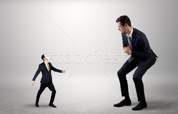 Konfliktus kicsi nagy üzletember elegáns férfi Stock fotó © ra2studio