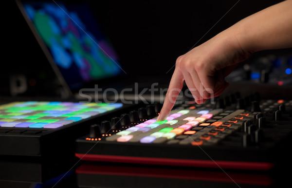 Kéz zene buli tánc laptop diszkó Stock fotó © ra2studio