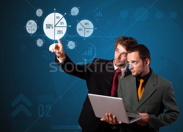 ストックフォト: ビジネスマン · 現代 · ビジネス · タイプ · ボタン