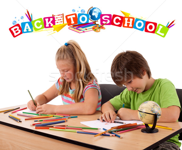 Kids looking with back to school theme isolated on white Stock photo © ra2studio