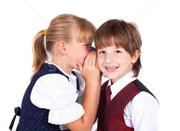 Two little kids telling secrets Stock photo © ra2studio