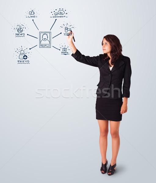 Photo stock: Femme · dessin · réseau · social · icônes · jeune · femme