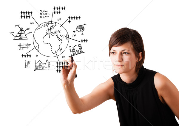 Foto stock: Mulher · jovem · desenho · globo · diagramas · isolado · branco