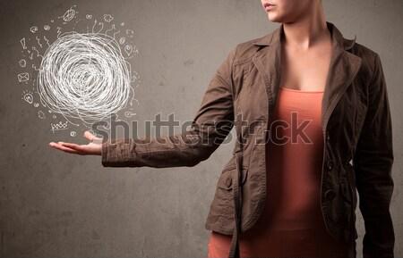 Chaos strony kobieta młoda kobieta działalności Zdjęcia stock © ra2studio