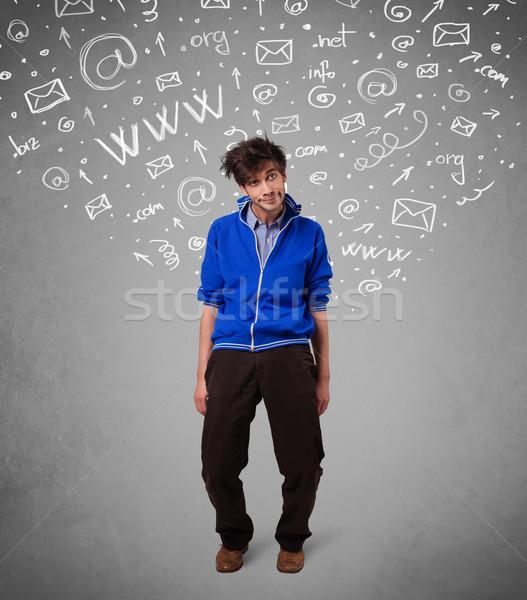 Lezser fiatalember absztrakt fehér média ikon Stock fotó © ra2studio