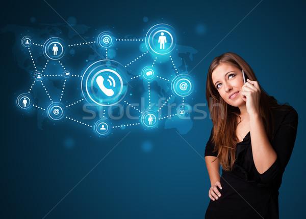 Mooie meisje telefoongesprek iconen Stockfoto © ra2studio