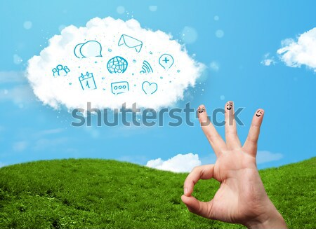 Cheerful happy smiling fingers with landscape scenery at the background Stock photo © ra2studio
