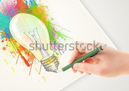 Kadın eller renkli kabarcıklar güzel Stok fotoğraf © ra2studio