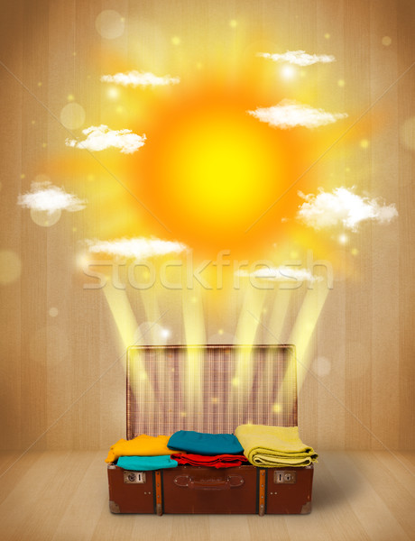 Estate luminoso sole nubi turistica bag Foto d'archivio © ra2studio