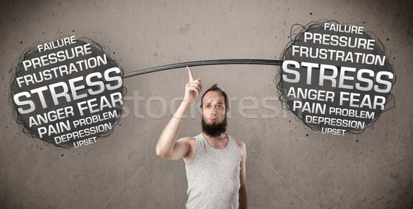 skinny guy defeating stress Stock photo © ra2studio