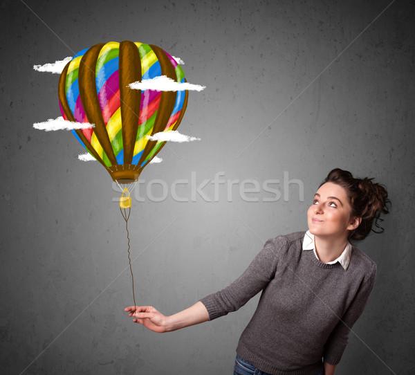 Stockfoto: Vrouw · ballon · tekening · jonge · vrouw · wolken