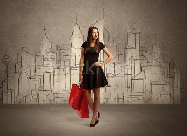 Shopping girl with bags in drawn city Stock photo © ra2studio